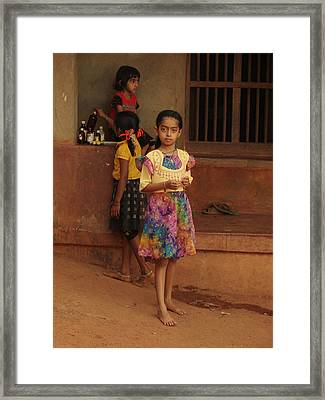 Rainbow Dress. Indian Collection Framed Print by Jenny Rainbow