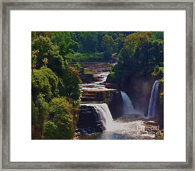Rainbow Falls Ausable Chasm Framed Print by Courtney Dagan