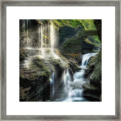Rainbow Falls Square Framed Print by Bill Wakeley