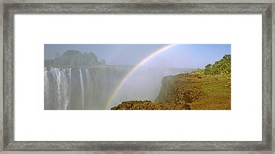 Rainbow Form In The Spray Created Framed Print by Panoramic Images