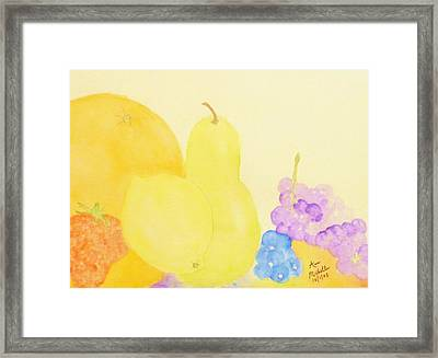 Rainbow Fruits And The Floating Lemon Framed Print by Ann Michelle Swadener