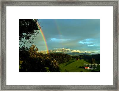 Rainbow In The Swiss Alps Framed Print by Susanne Van Hulst
