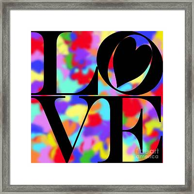 Rainbow Love In Black Framed Print by Kasia Bitner