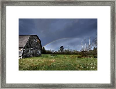 Rainbow On The Farm Framed Print by Alana Ranney