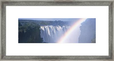 Rainbow Over A Waterfall, Victoria Framed Print by Panoramic Images