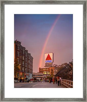 Rainbow Over Fenway Framed Print by Paul Treseler
