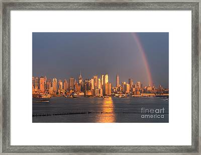 Rainbow Over New York City I Framed Print by Clarence Holmes