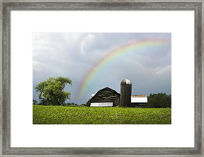 Rainbow Over Old Country Barn Framed Print by Christina Rollo