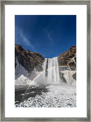 Rainbow Over Skogarfoss Waterfall Framed Print by Panoramic Images