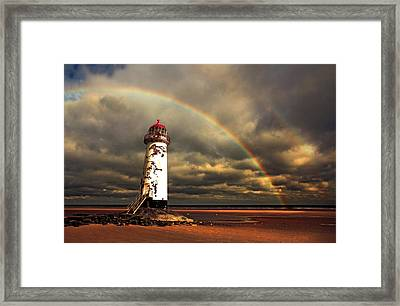 Rainbow Over Talacre Lighthouse Framed Print by Mal Bray