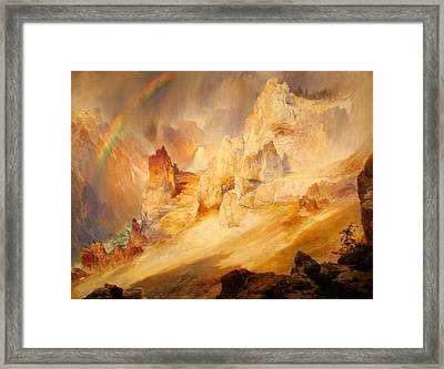 Rainbow Over The Grand Canyon Of The Yellowstone Framed Print by Thomas Moran