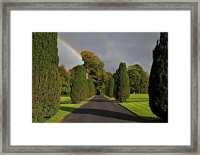 Rainbow Over The Yew Walk In Emo Court Framed Print by Panoramic Images