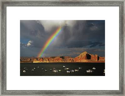 Rainbow Over Wahweap Marina, Lake Framed Print by Michel Hersen