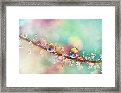 Rainbow Smoke Drops Framed Print by Sharon Johnstone