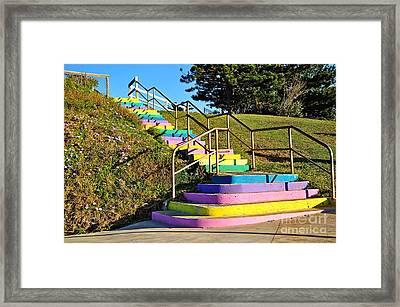 Rainbow Steps Framed Print by Kaye Menner