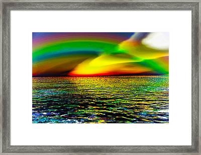 Rainbow Thunder      Enhanced Version Framed Print by Rebecca Phillips