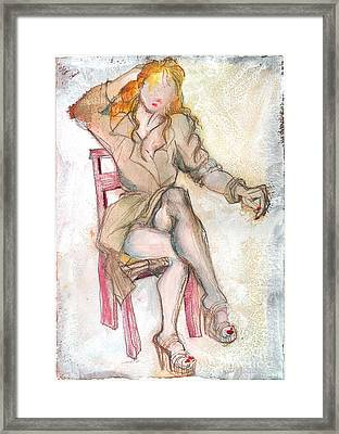 Raincoat Girl Framed Print by Carolyn Weltman