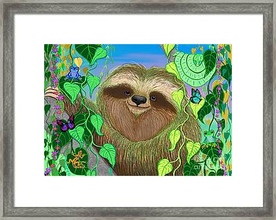 Rainforest Sloth Framed Print by Nick Gustafson