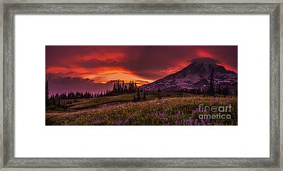 Rainier Fire Mountain Panorama Framed Print by Mike Reid