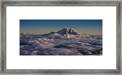 Rainier Hood Adams And St Helens From The Air Framed Print by Mike Reid