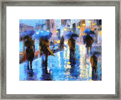 Raining In Italy Abstract Realism Framed Print by Georgiana Romanovna