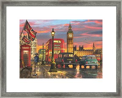 Raining In Parliament Square Variant 1 Framed Print by Dominic Davison
