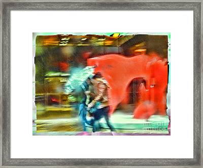 Rainy Day In New York City Framed Print by Jeff Breiman
