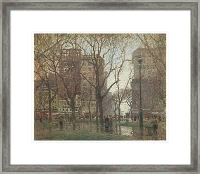 Rainy Day Madison Square New York Framed Print by Paul Cornoyer