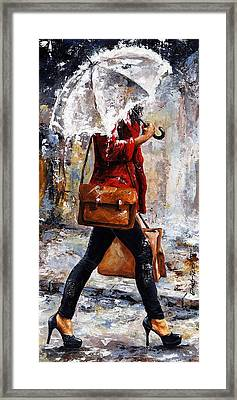 Rainy Day - Woman Of New York 17 Framed Print by Emerico Imre Toth