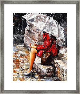Rainy Day - Woman Of New York Framed Print by Emerico Imre Toth