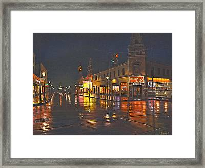 Rainy Night-117th And Detroit     Framed Print by Paul Krapf