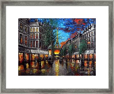 Rainy Sunset In Paris Framed Print by Alexandru Rusu