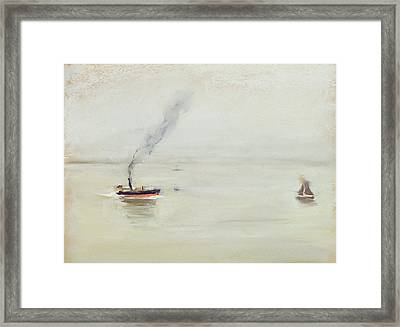 Rainy Weather On The Elbe Framed Print by Max Liebermann