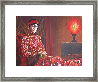 Raise The Red Lantern Framed Print by Karen Coggeshall