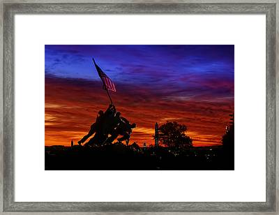Raising The Flag Framed Print by Metro DC Photography