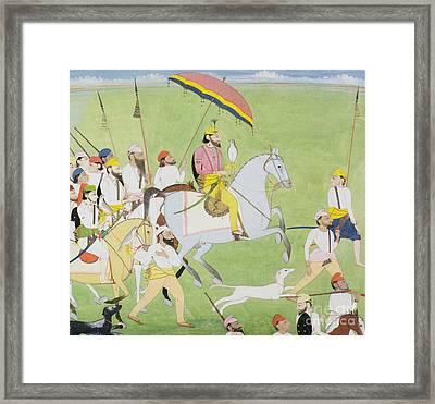 Rajah Dhian Singh Hunting Framed Print by Indian School