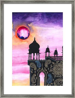 Rajasthan Sunset Framed Print by Cat Athena Louise