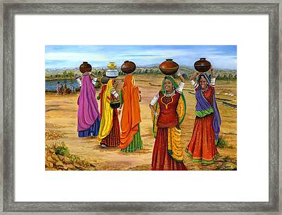 Rajasthani  Women Going Towards A Pond To Fetch Water Framed Print by Vidyut Singhal