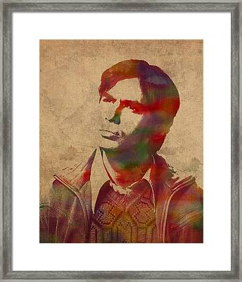 Rajesh Raj Koothrappali Big Bang Theory Watercolor Portrait On Distressed Worn Canvas Framed Print by Design Turnpike