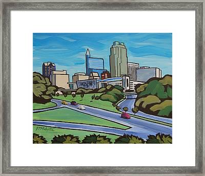 Raleigh Skyline 2 Framed Print by Tommy Midyette