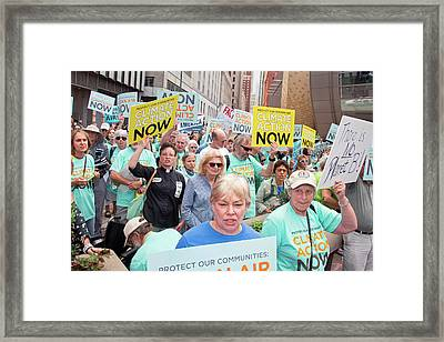 Rally To Support Coal Burning Limits Framed Print by Jim West