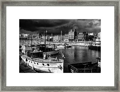 Ramsgate Harbour Mono Framed Print by Ian Hufton