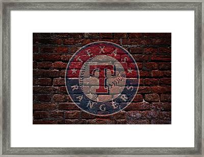 Rangers Baseball Graffiti On Brick  Framed Print by Movie Poster Prints
