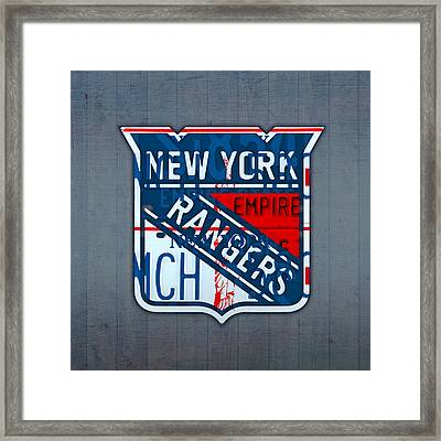 Rangers Original Six Hockey Team Retro Logo Vintage Recycled New York License Plate Art Framed Print by Design Turnpike