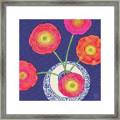 Ranunculus On Blue Framed Print by Valerie Drake Lesiak