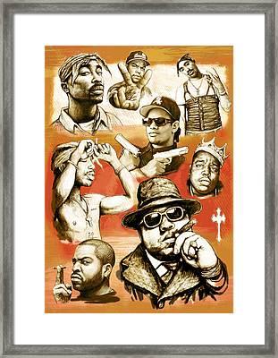 Rap Group Drawing Pop Art Sketch Poster Framed Print by Kim Wang