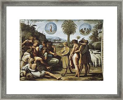 Raphael 1483-1520. Joseph Explaining Framed Print by Everett