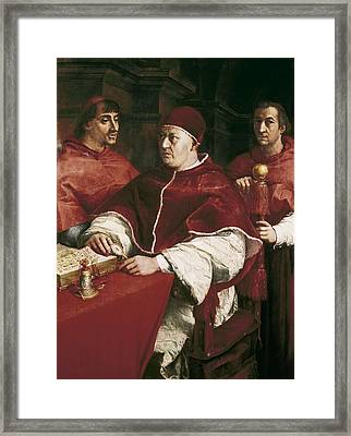 Raphael 1483-1520. Portrait Of Leo X Framed Print by Everett