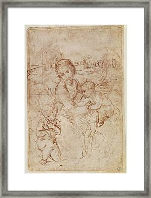 Raphael 1483-1520. Study Of A Madonna Framed Print by Everett