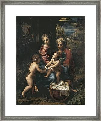 Raphael 1483-1520. The Holy Family La Framed Print by Everett